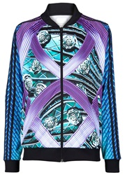Mary Katrantzou Printed Jersey Bomber Jacket Purple And Other