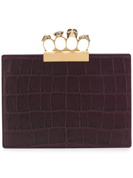 Alexander Mcqueen Jewelled Four Ring Clutch Pink And Purple