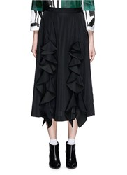 Toga Archives Coated Ruffle Trim Midi Skirt Black