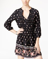 American Rag Printed Pintucked Fit And Flare Dress Only At Macy's Black Multi