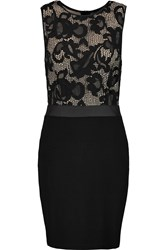 Tart Collections Clarice Faux Leather Trimmed Lace And Jersey Mini Dress Black