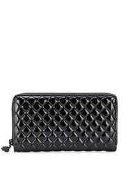 Alexander Mcqueen Varnished Quilted Continental Wallet Black
