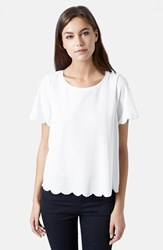 Women's Topshop Scallop Frill Tee