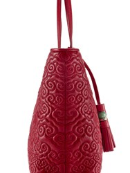Shanghai Tang Cloud Quilted Leather Tote Red