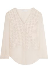 Chelsea Flower Paneled Georgette Blouse White