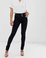 B.Young Button Front Skinny Jeans Black