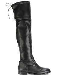 Anna Baiguera Over The Knee Eco Suede Panel Boots Leather Suede Rubber Black