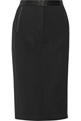 Adam By Adam Lippes Silk Satin Trimmed Wool Blend Pencil Skirt