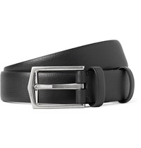 Burberry 2.5Cm Black Cross Grain Leather Belt