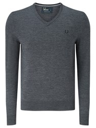 Fred Perry Classic Tipped V Neck Sweater Graphite Marl