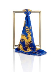 Shanghai Tang Dragon Silk Satin Chiffon Printed Square Scarf Royal Blue