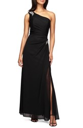 Women's Alex Evenings Beaded One Shoulder Mesh Gown