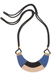 Marni Cord Leather And Horn Necklace Royal Blue