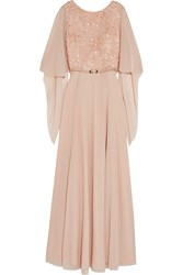 Mikael Aghal Belted Embellished Chiffon Gown Pink