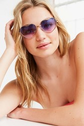 Urban Outfitters Mia Metal Heart Sunglasses Pink