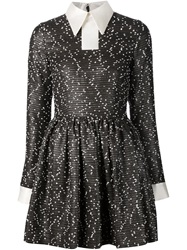 Minjukim Tweed Shirt Flared Dress Black