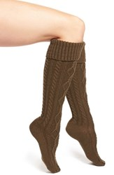 Women's Free People Cable Knit Knee High Socks Green Olive