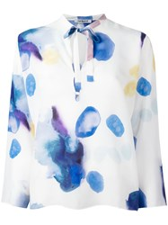 Cacharel Blurry Print Longsleeved Blouse White