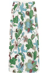 Tory Burch Embroidered Organza Maxi Skirt Blue