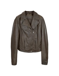 Forzieri Brown Leather Motocycle Jacket