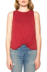 Willow And Clay Women's Twist Knit Tank Deep Red