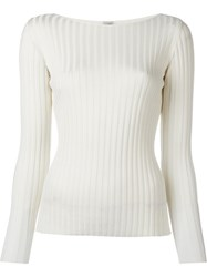 Eleventy Ribbed Knit Jumper White