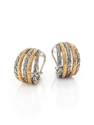 John Hardy Classic Chain 18K Yellow Gold And Sterling Silver Small Hoop Earrings 0.5 Silver Gold