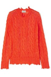 Acne Studios Kelenal Frayed Cable Knit Sweater Coral