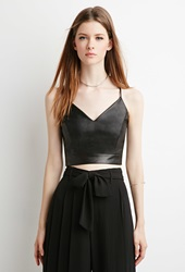 Forever 21 Faux Leather Crop Top Black