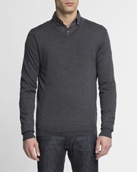 Hackett Anthracite Grey Tone On Tone Elbow Patch Fine Gauge Knit V Neck Jumper