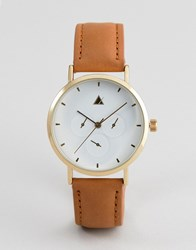 Asos Design Sub Dial Detail Leather Watch Blue