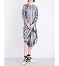 Sharon Wauchob Pleated Metallic Silk Dress Silver