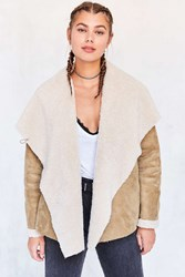 Ecote Danielle Vegan Shearling Jacket Brown
