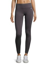 Ivanka Trump Contrast Knit Active Leggings Black