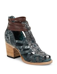 Freebird Penny Leather Cutout Booties Blue