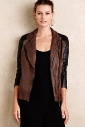 Anthropologie Colorblocked Leather Moto Jacket Brown