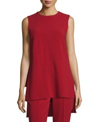 Adam By Adam Lippes Pleated Black Sleeveless Tunic Claret