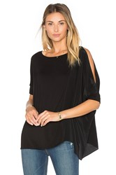 Heather Asymmetric Silk Boxy Top Black