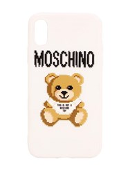 Moschino Teddy And Logo Print Iphone X Cover White