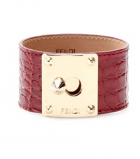 Fendi Crocodile Leather Cuff Red
