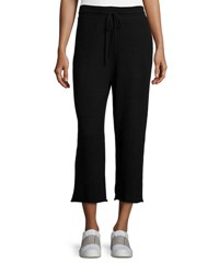 Vince Cropped Wide Leg Sweatpants Black