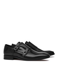 Reiss Filmore Mens Double Monk Strap Shoes In Black