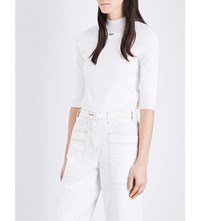 Moandco. Run Embroidered Stretch Knit Top Gardenia