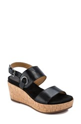 Latigo Lauren Platform Wedge Sandal Black Leather