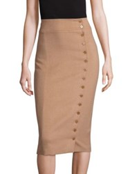 Polo Ralph Lauren Camel Hair Button Front Pencil Skirt