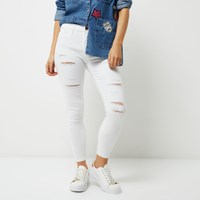 River Island Womens Petite White Ripped Molly Jeggings