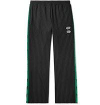 Off White Logo Trimmed Pinstriped Stretch Jersey Sweatpants Black