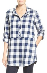Caslonr Women's Caslon Plaid Cotton Tunic Navy Ivory Buffalo Plaid
