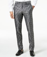 Tallia Orange Men's Modern Fit Black Medallion Suit Pants