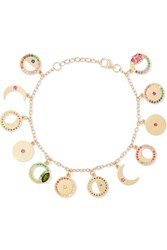 Andrea Fohrman Phases Of The Moon 14 Karat Gold Multi Stone Charm Bracelet